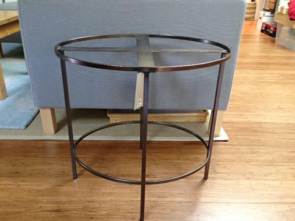 West Elm Bronze Foxed Mirror Side Table For Sale In Palo