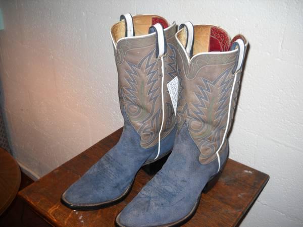 western cowboy boots custom jones blue suede 8 w9