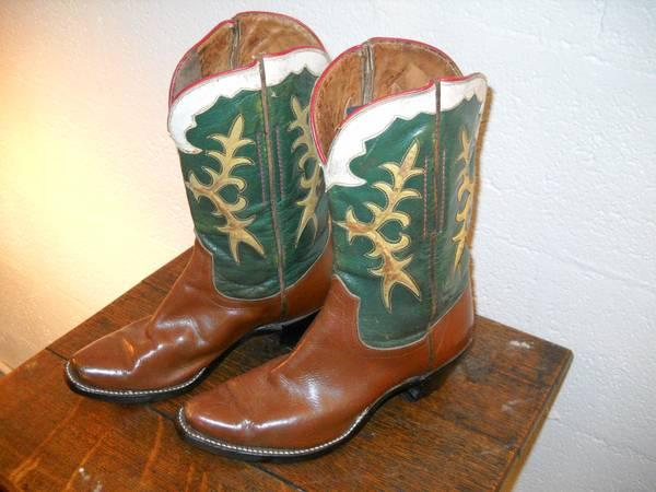 Creative Womens Brown Texas Rodeo Western Cowgirl Boots Vintage Flag Square Toe Handmade | EBay