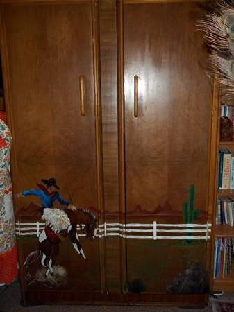 Western Cowboy Motif Vintage Full Sized Wardrobe - One of a Kind - $249
