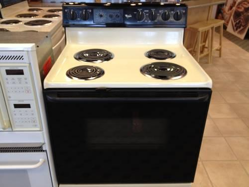 Whirlpool Black Amp Bisque Electric Range Stove Oven Used