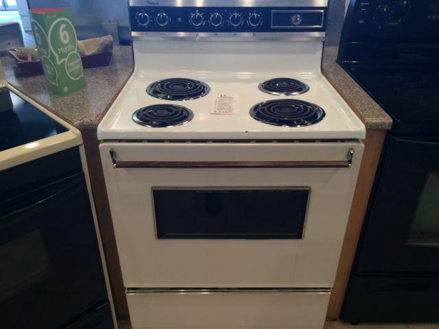 Whirlpool black white range stove oven used for sale for Lakewood wood stove for sale