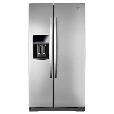 Whirlpool Gold 24.5 cu. ft. Side by Side Refrigerator in Monochromatic Stainless Steel, Counter Depth