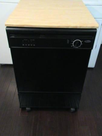 whirlpool portable dishwasher black with butcherblock top