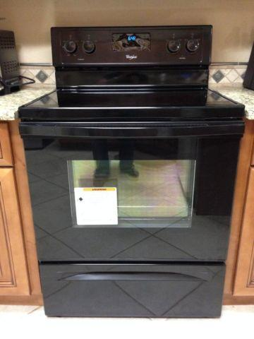 Whirlpool Range (glass top) and Microwave - Black - Like New - for ...