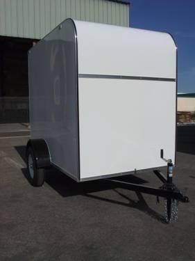 Utility Trailers For Sale Ontario >> White 5' x 8' x 6' Enclosed Cargo Box Trailer EXTRA TALL Spring Ramp for Sale in Ontario ...