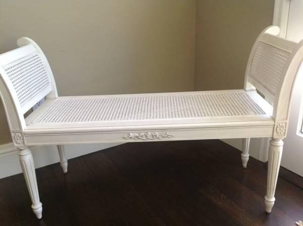 White Antique Wicker Bench For Sale In Los Altos