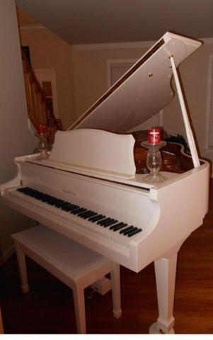 White Baby Grand Samick Piano with QRS Pianomation system