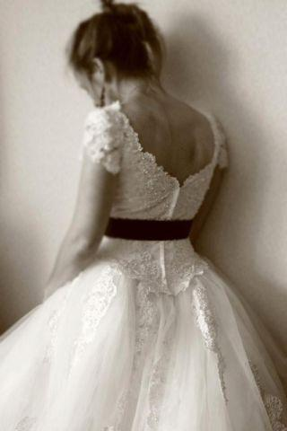 White Ballgown Wedding Dress w/ Beading & Mesh