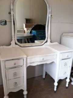 WHITE BIRCH GIFTING & ANTIQUES   VINTAGE SHABBY WHITE VANITY/CHAIR