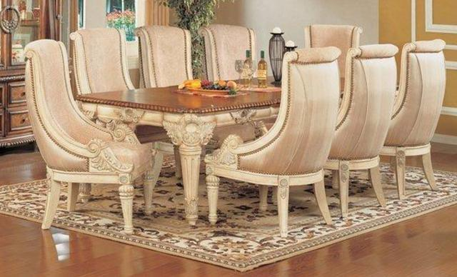 White Distressed Crackle Finish 9 Piece Dining Table
