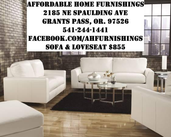White durablend sofa loveseat clean contemporary lines for Affordable furniture grants pass oregon