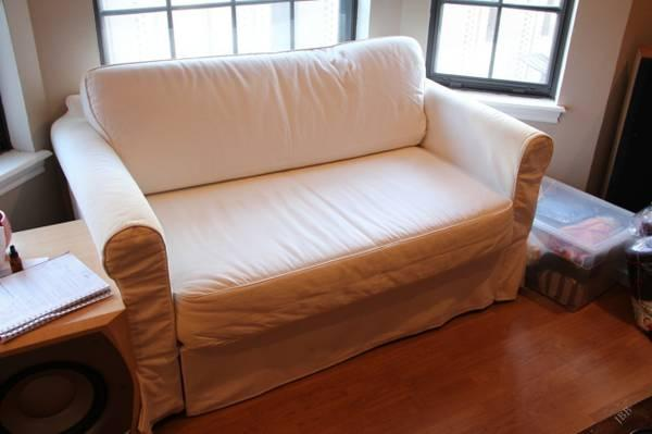 Brilliant White Ikea Hagalund Love Seat Futon Pull Out Sofa Bed For Bralicious Painted Fabric Chair Ideas Braliciousco