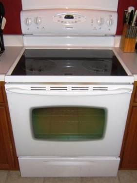 White Maytag Smoothtop Self Cleaning Stove