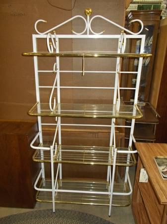 White Metal Bakers Rack For Sale In Greenwich