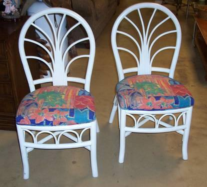 White Rattan Style Chairs With Tropical Cushions For Sale