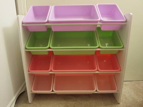 White Shelf Bookcase Toy Storage Organizer Bins