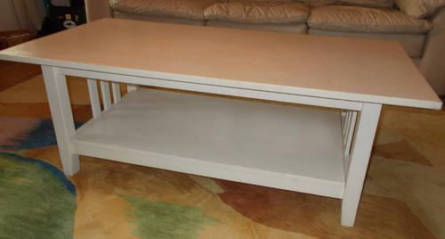 White Solid Wood Mission Style Coffee Table