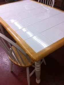 White Tile Top Dining Table W 2 Chairs 75 Ventura