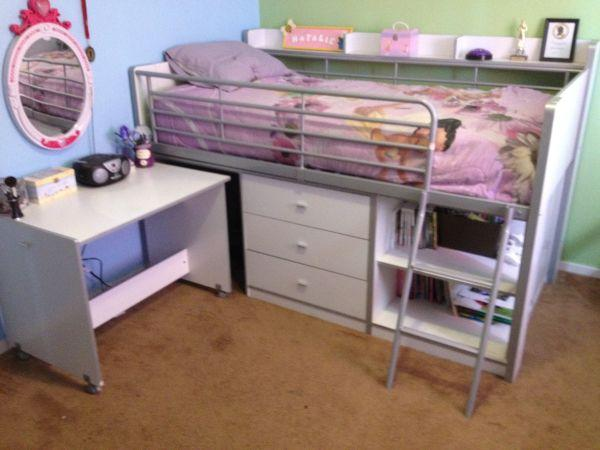 White twin loft bed with desk woodbridge for sale in for White twin beds for sale