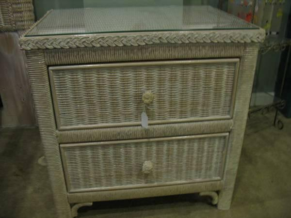 White Washed White Wicker Carol Link Nightstand Great