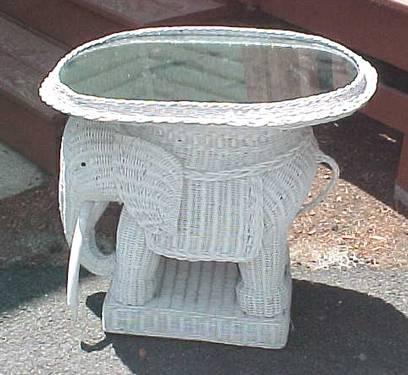 White Wicker Elephant Accent Table Serving Table End
