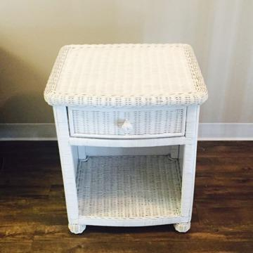 White Wicker Nightstand For Sale In San Jose California