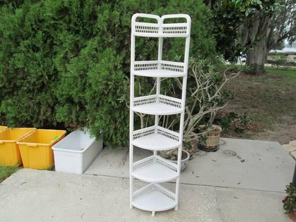 White Wicker Tall Corner Shelf For Sale In Eagle Lake Florida Classified