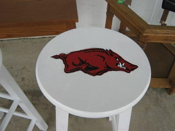 White Wooden Barstool With Hand Painted Razorback Go Hogs