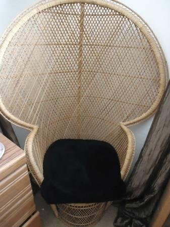 Wicker Large 5 Tall Peacock Fan Chair For Sale In
