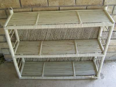 Wicker Shelf, Vintage Wood Shelf, Metal Utility Shelves