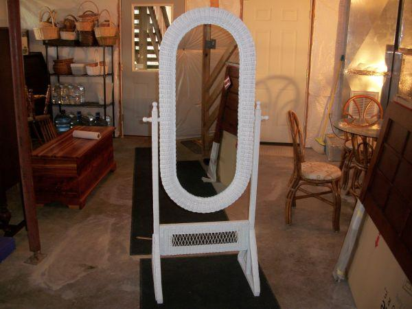 Wicker stand up mirror front royal linden for sale in for Large stand up mirror