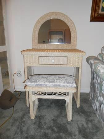 Wicker Vanity, Mirror and Stool - $90