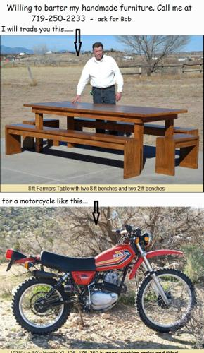 Will trade/barter new Farmer's Table for Motorcycle