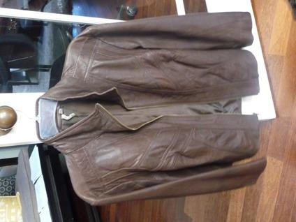 Women's Brown Leather Jacket, Size 16