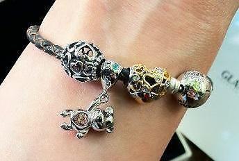 85c204f6913d0 Women's Charm Bracelet Leather Sterling Silver Swarovski Crystals New
