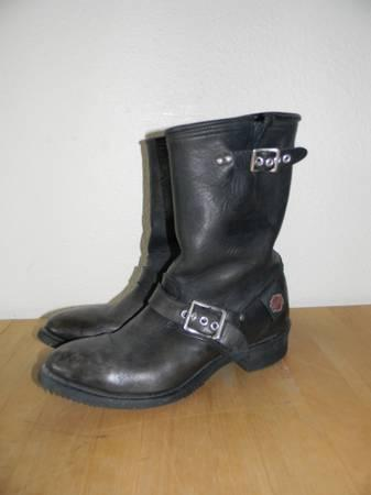 Womens Size 6 Harley Davidson Black Leather Boots - $70