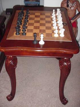 Wood Chess Table w/ Chess Set & Chairs