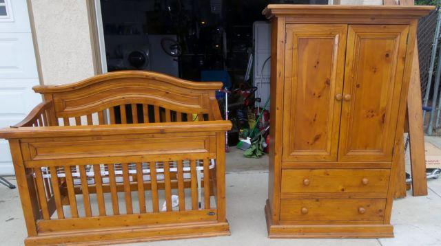 Wood crib & armoire.