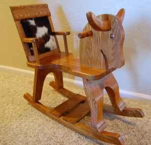 Wood/Leather/Cowhair rocking horse-Toddler size - $50