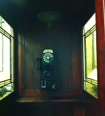 Wood Phone Booth With 3 Stained Glass Windows Amp Door For