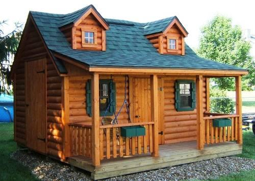 Wood playhouses log cabin playhouses new for sale in for Log cabin garages for sale