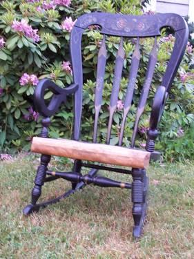 Wood rocking chair pineapple design painted on black with goldish trim ...