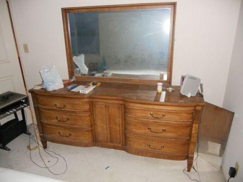 Wooden Bedroom Dresser With Vanity Mirror   $100