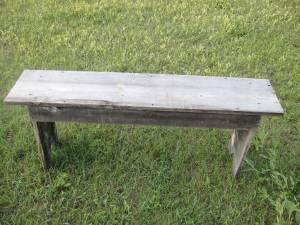 WOODEN BENCH MADE FROM OLD BARN WOOD   $20
