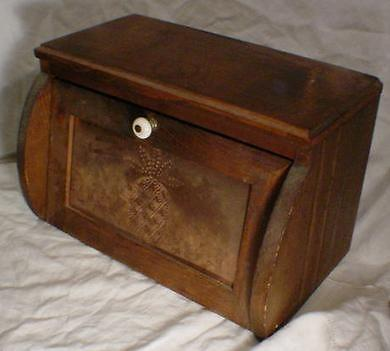 wooden bread box punched metal front