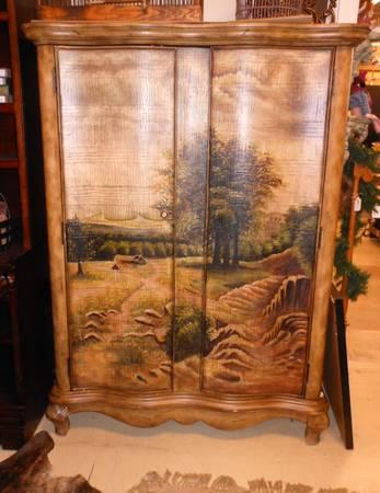 wooden hand painted cabinet armoire for sale in jackson michigan classified. Black Bedroom Furniture Sets. Home Design Ideas