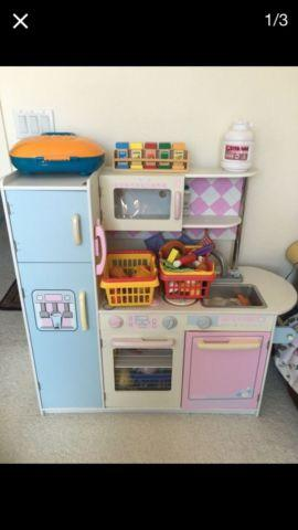 Wooden Play Kitchen with Wooden Food Accessories