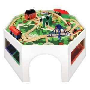 Wooden train set with octagonal table - $140