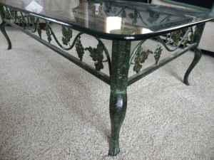 Wrought Iron And Gl Coffee Table Two End